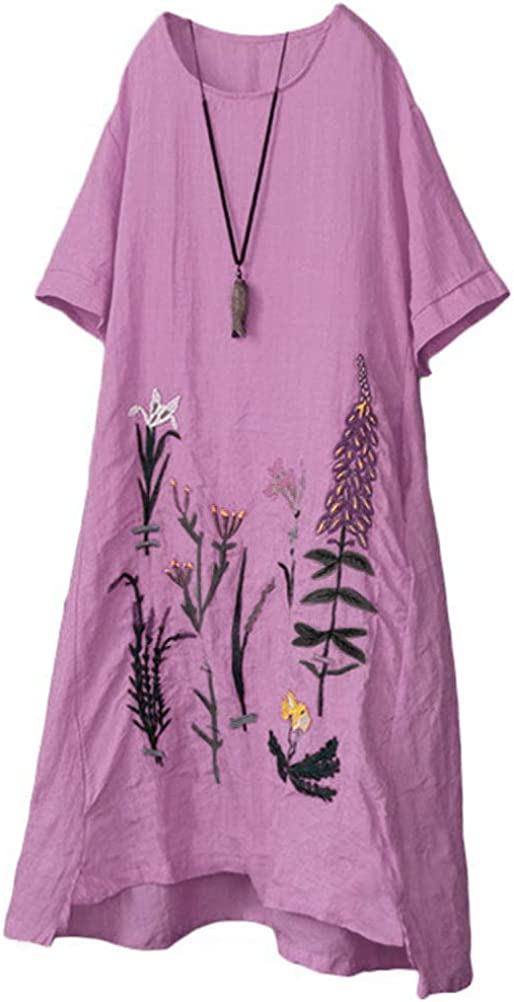 YESNO Women Casual In a popularity Loose Embroidered Dresses Hi-Low Tunic In a popularity Linen