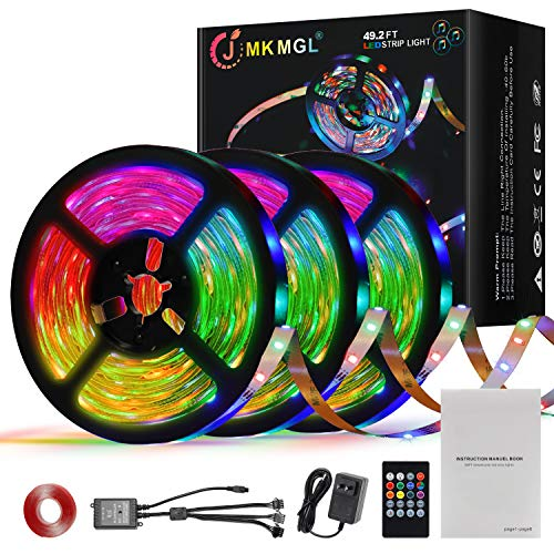 LED Strip Lights, JMKMGL 50Ft 810leds Music Sync Color Changing Light with Remote Controller,RGB Tape Lights with 12V ETL Listed Adapter for bedrooms,Kitchen, bar