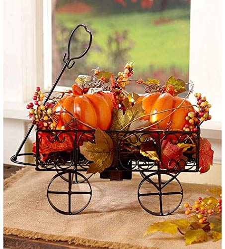 TRM Lighted Harvest Autumn Fall Pumpkin Wagon Decor Centerpiece