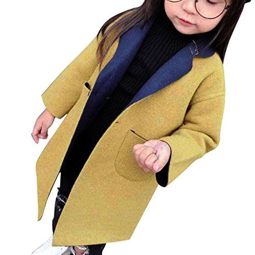 YISUMEI Little Girls Wool Cotton Jacket Long Blend Winter Warm Overcoat Yellow 7