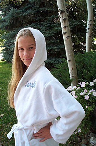 Initial Monogram Hand Embroidery (Personalized Hooded Children's Deluxe Terry Velour Bathrobe Cover Up in Multiple Sizes and Colors - Embroidery of Name or Monogram Included)