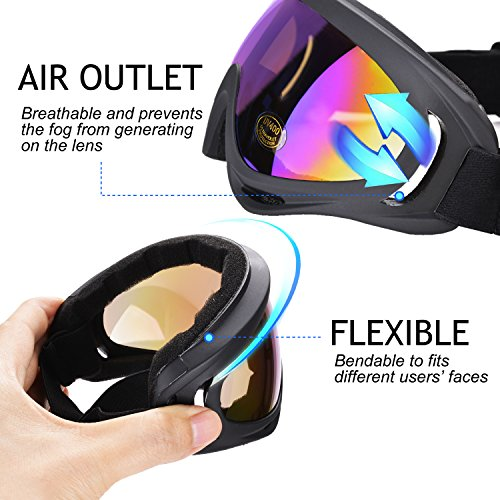 Ski Goggles, Outgeek 2 Pack Skate Glasses with UV 400 Protection Windproof and Dustproof for Snowboard Motorcycle Bicycle