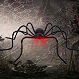 "FLY2SKY Halloween Spiders 50"" Giant Spider Voice Touch Control LED Red Eyes Outdoor Halloween Yard Decorations Shake & Squeak with Spooky Voice Haunted House Decoration"