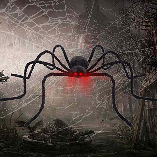 """FLY2SKY Halloween Spiders 50"""" Giant Spider Voice Touch Control LED Red Eyes Outdoor Halloween Yard Decorations Shake & Squeak with Spooky Voice Haunted House Decoration by FLY2SKY"""