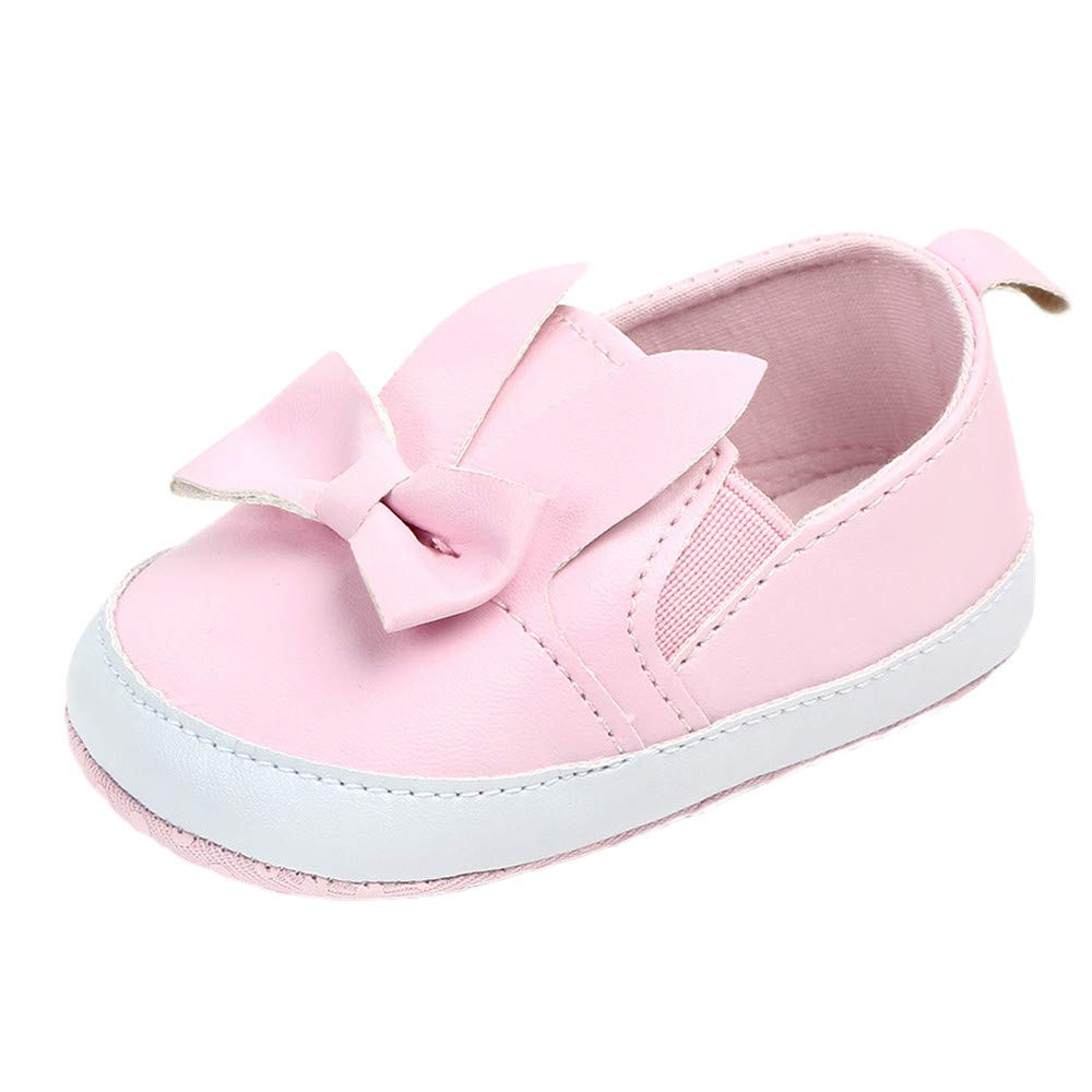 Voberry@ Leather Baby Moccasins Toddler Girl Bowknot Cute Shoes Slip On Inant First Walkers