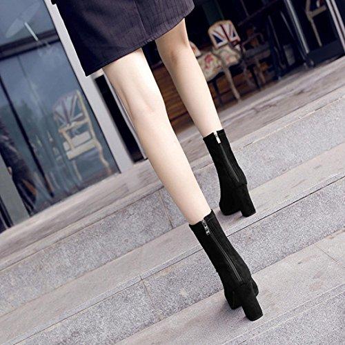 Transer® Damen Scharfes Ende High Heel Stiefel mit Reißverschluss Weich Winter Schwarz Stiefeletten