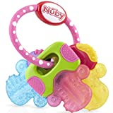 Nuby Perfectly Icy Bite Keys Multi Surfaced Soothing Teether, Pink, 1 Pack