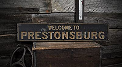 Welcome to PRESTONSBURG, KENTUCKY - Rustic Hand-Made Vintage US City Wooden Sign