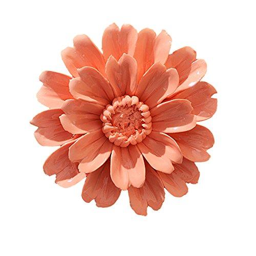 ALYCASO Handmade Decorative Ceramic Flowers 3D Wall Decor Hanging Room Decoration Art (XL- 5.9 in, Sunflower Orange)