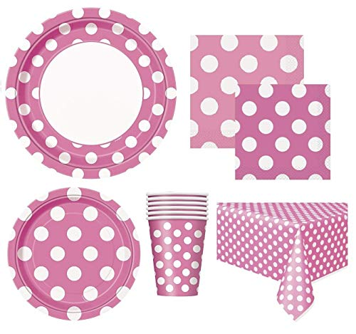 Hot Pink Polka Dot Deluxe Party Supplies Pack for 16 Guests Including - Lunch Plates, Dessert Plates, Cups, Napkins and Table Cover -