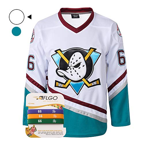 (AFLGO Bombay #66 Mighty Ducks Ice Hockey Jersey S-XXXL Green, Gordon Stitched Clothing Throwback, Top Bonus Combo Set with Wristbands (White, XL))