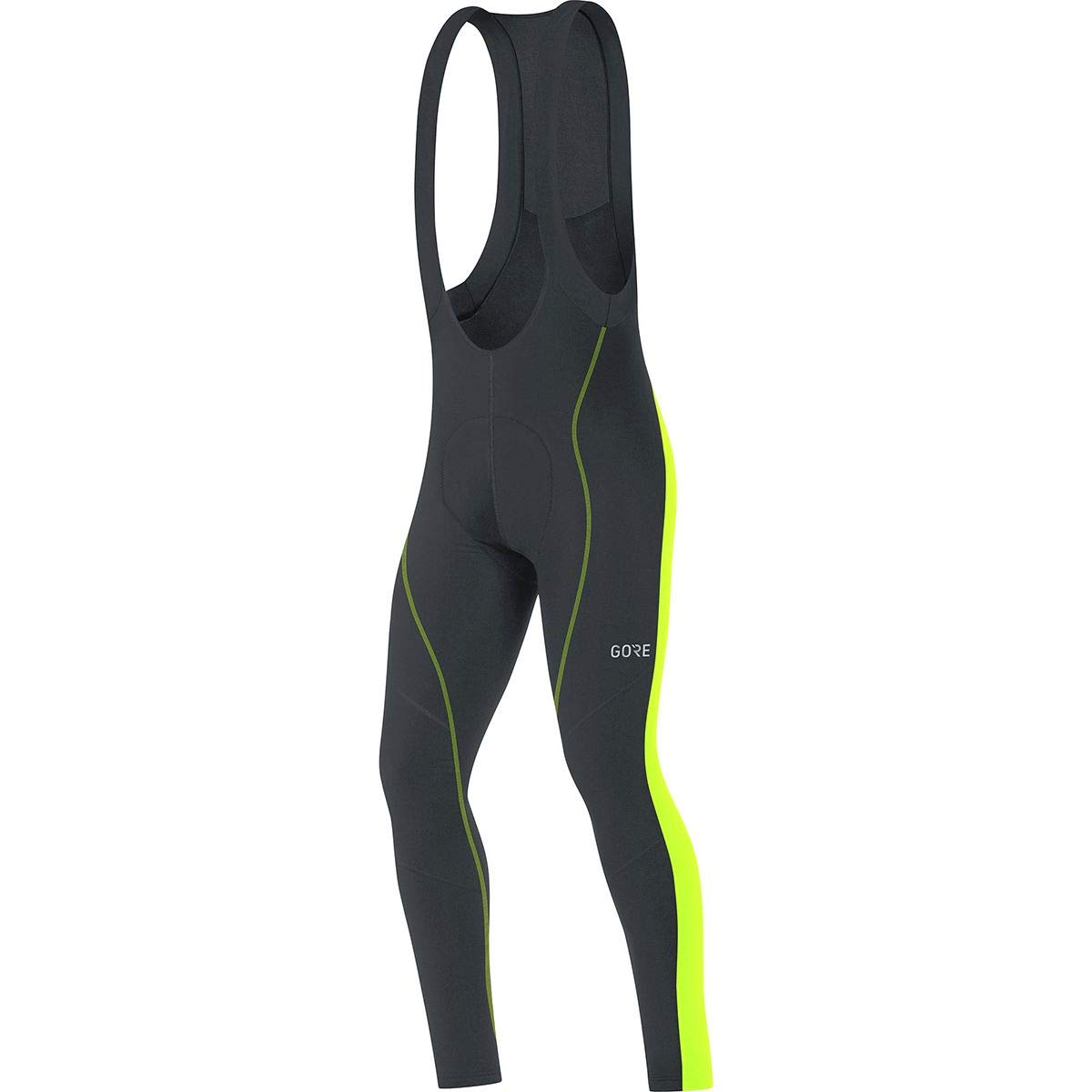 GORE WEAR Men's Breathable, Long Cycling bib Tights, with seat Insert, C3 Thermo Bib Tights+, M, Black/Neon-Yellow, 100326