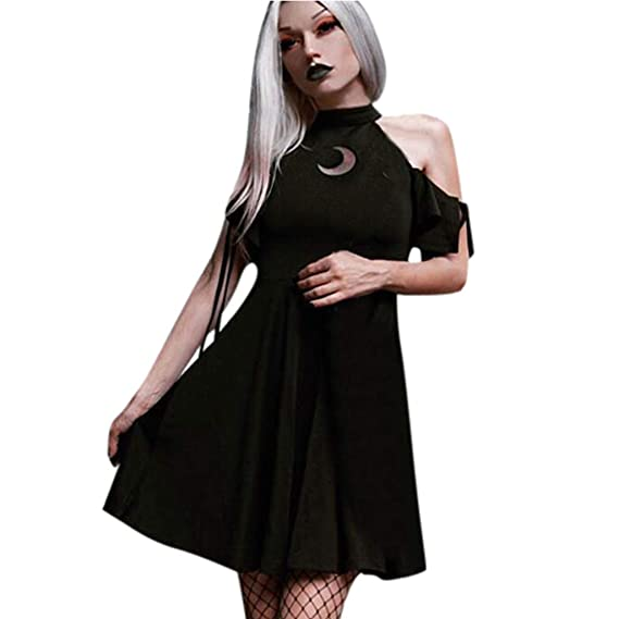 Vestidos Gótico Corto Negro Mujer/Vestido Medieval Mujer ...