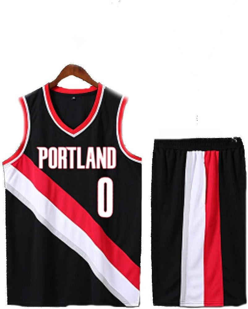 LVADE T-Shirts pour Hommes Portland Trail Blazers Maillot de Basket Damian Lillard 0# Tenue Convient aux Enfants Jeunes Adultes sans Manches Multicolore Premium Silky Bon Jeu