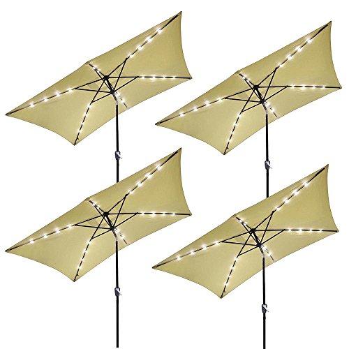 Yescom 10' x 6.5' Rectangle Aluminum Solar Outdoor Crank Tilt Patio Umbrella w/ 20 LEDs Poolside Garden (Pack of 4)