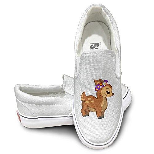 Deer God Costume (CAPA Unisex Moccasin-Gommino Shoes Flower Deer Flat Canvas Sneaker 40 White)