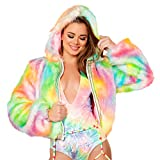 J. Valentine Women's Light-up Cropped Jacket, Rainbow Sherbet, Medium/Large