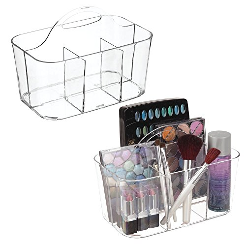 (mDesign Plastic Makeup Storage Organizer Caddy Tote - Divided Basket Bin, Handle for Bathroom - Holds Eyeshadow Palettes, Nail Polish, Makeup Brushes, Blush, Shower Essentials - Small, 2 Pack - Clear)