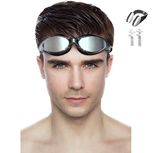 Swimming Goggles for Men - 100% U.v. Protection, Anti-shatter, Anti-fog, Mirror Coated Lenses! Easily Adjustable,friendly Strap with Plastic Buckle for Easy Removal! Free Nose Clip (Black Swimming Goggles Adult)