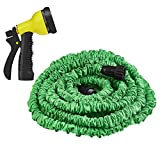 Yowosmart Garden Hose 100 Ft Double Latex Strongest Durable Expandable Garden Hose and 8 Function Spray Nozzle, Extra Strength Fabric Protection