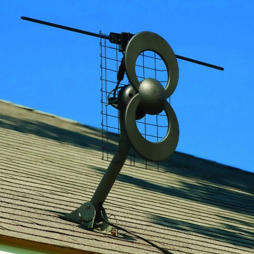 Antennas Direct ClearStream 2V TV Antenna, 60+ Mile Range, UHF/VHF, Multi-directional, Indoor, Attic, Outdoor, Mast w/Pivoting Base/Hardware/ Adjustable Clamp, Sealing Pads, 4K Ready, Black - C2-V-CJM