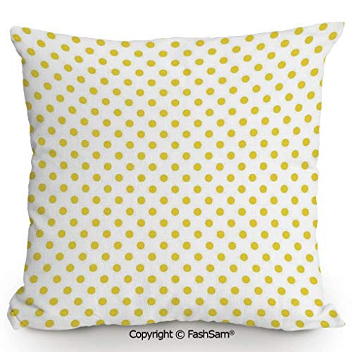 FashSam Polyester Throw Pillow Cushion Picnic Like Cute 50s 60s 70s Themed Yellow Spotted White Pattern Print for Sofa Bedroom Car Decorate(24