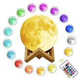 3D Moon Lamp Printing Night Light,Rquite Remote Control 16 Colors Changing Optical Illusion LED Lunar Moonlight Globe Ball with Wood Stand Base for Kids Room Home Decor - 5,9 Inch