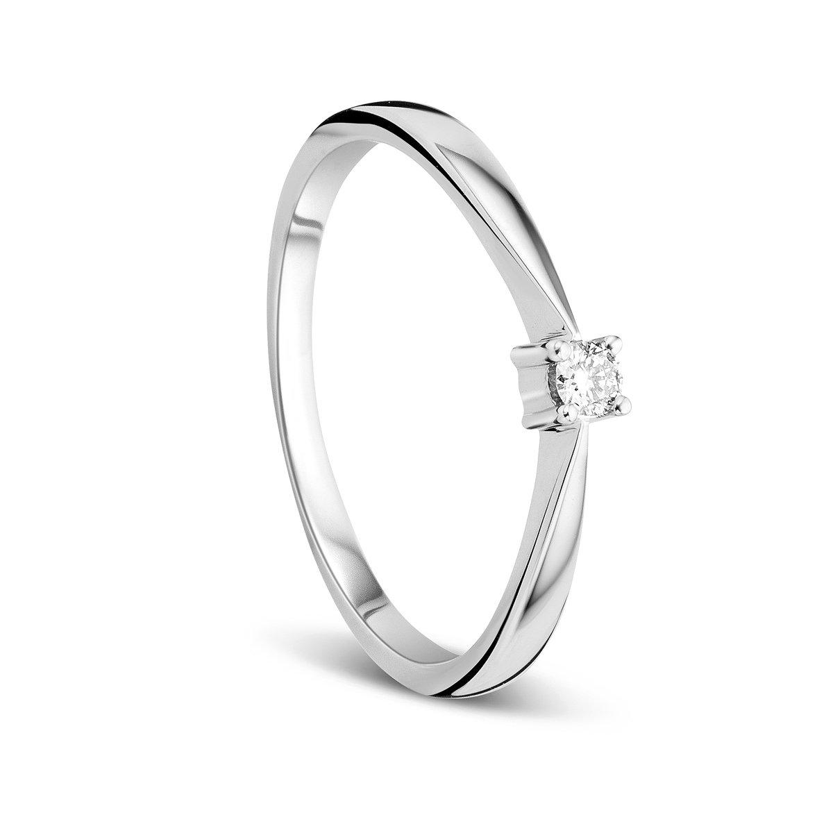 375 Orovi Anillo Se/ñora Solitario en Oro Blanco con Diamante Talla Brillante 0.05 ct Oro 9 Kt