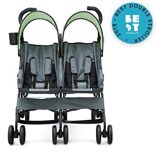 51nsudffheL - Delta Children LX Side By Side Tandem Umbrella Stroller, Lime & Green