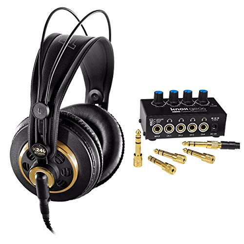 Mkii Monitor - AKG K240 Studio Semi-Open Over-Ear Professional Studio Headphones with Knox Gear Headphone Amplifier
