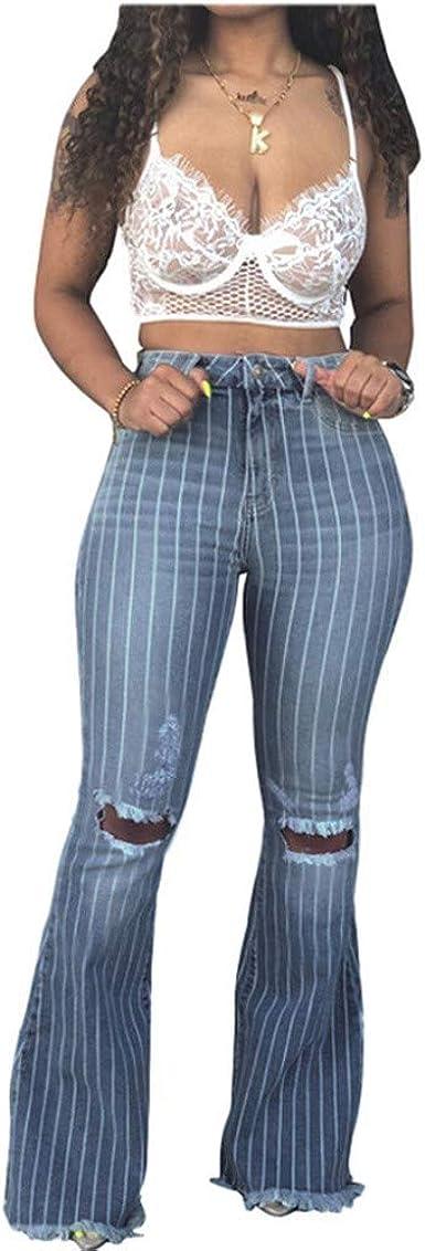 Jeans Rotos A Rayas Vaqueros Largos Para Mujer Moda Casual Pantalon Denim Largo Slim Cremallera Bolsillo Pantalones De Mezclilla Acampanados Anchos Amazon Es Ropa Y Accesorios