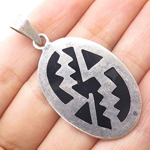 VTG Mexico 925 Sterling Silver Black Onyx Gem Tribal Symbolic Abstract Pendant Jewelry Making Supply by Wholesale Charms