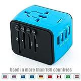 USB Plug Charger 4-Port USB for worldwide travel,international travel plugs with EU,UK,US,AU plugs and sockets (blue-4USB)