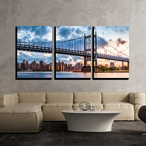 (wall26 - 3 Piece Canvas Wall Art - Robert F Kennedy Bridge Aka Triboro Bridge at Sunset, in Queens, New York - Modern Home Decor Stretched and Framed Ready to Hang - 16