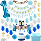 Baby Boy 1st Birthday Decorations WITH Birthday Crown - First Birthday Boy Decorations - Cake Smash Party Supplies - Happy Birthday and HighChair ONE Burlap Banner, Number One Balloon, Cake Topper.