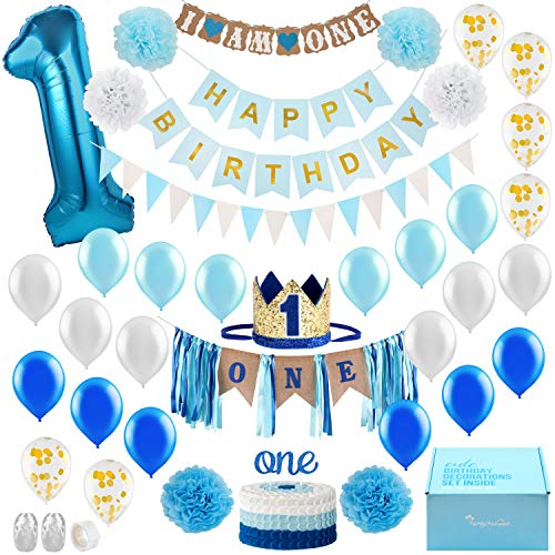Baby Boy 1st Birthday Decorations WITH Birthday Crown - First Birthday Boy Decorations - Cake Smash Party Supplies - Happy Birthday and HighChair ONE Burlap Banner, Number 1 Balloon, Cake Topper. -
