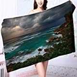 ultra soft and absorbent bath towel Sunset over rocky coast of Indian Ocean Bali island,Indonesia for Maximum Softness L55.1 x W27.5 INCH