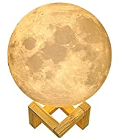"""7""""Moon Lamp, Genuine Moon Light ! 3D Printed Moon Lamp with Stand, The Moon Night Light with LED 16 Colors, Touch Control and Remote Control."""
