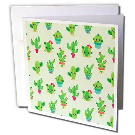 3dRose Anne Marie Baugh - Patterns - Cute Saguaro and Flowering Cactus, Flower Pots, and Rocks Pattern - 12 Greeting Cards with envelopes (gc_274024_2)