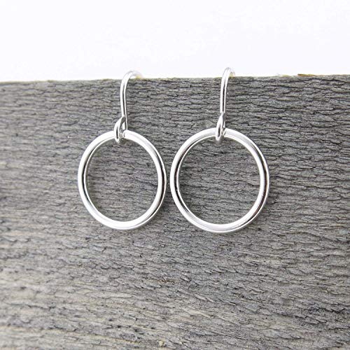 (Small Sterling Silver Open Circle Hoop Earrings Delicate Everyday Dangle Drop)