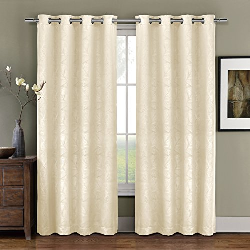 One Top Grommet Blackout Weave Embossed Curtain Panel, Triple-Pass Foam Back Layer, Elegant and Contemporary Prairie Blackout Panel, Ivory, 96″ Panel