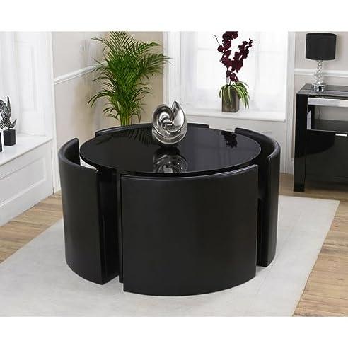 münchen schwarz hochglanz runder tisch mit 4 stühlen