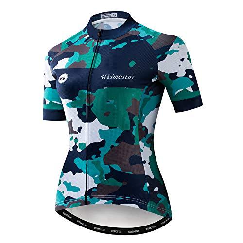 - Women's Cycling Jersey Short Sleeve Girls Bike Shirt Jacket Bicycle Clothing Three Pockets Reflective Camouflage Green Size M