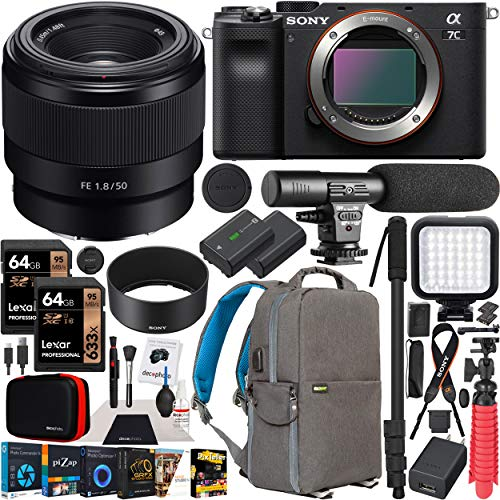 Sony a7C Mirrorless Full Frame Camera Body FE 50mm F1.8 Full-Frame Lens SEL50F18F Black ILCE7C/B Bundle with Deco Gear Photography Backpack Case, Software and Accessories