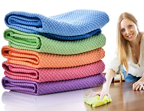 Dish Rags Dish Cloths Kitchen Washcloths-5 Pieces 5 Colors Microfiber Glass Cleaning Cloths, Lint Free - Streak Free | Quickly and Easily Clean Windows & Mirrors, 12 by 12-Inch by ForNeat