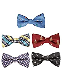 Bundle Monster 5 pc Boys Adjustable Elastic Pre-Tied Bow Tie Accessories - Set 5