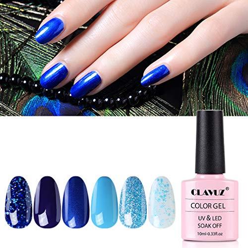 CLAVUZ Gel Nail Polish Set - 6 Pcs Soak Off Nail Art Manicure Varnish Set Gel Nail with Gift Box 10ml, Require LED UV Nail Dryer Lamp