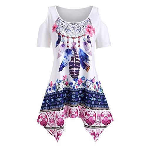 ZOMUSAR Fashion Women's Plus Size Asymmetrical Cold Shoulder Feather Print T-Shirt Blouses for Ladies