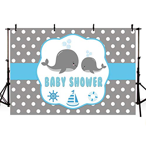 MEHOFOTO Cute Whale Baby Shower Backdrop Props Ahoy Blue and Gray Polka Dots Little Squirt Boy Photography Background Photo Banner for Cake Table Supplies 7x5ft ()