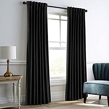 Dreaming Casa Darkening Black Velvet Curtains for Living Room,Thermal Insulated Rod Pocket/Back Tab Window Curtain for Bedroom(2 Panels,52